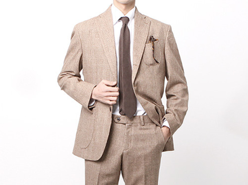 (select) wool glen check suit . brown
