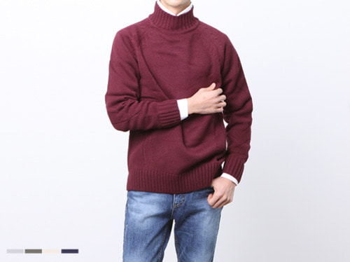 (select) with turtle neck knit