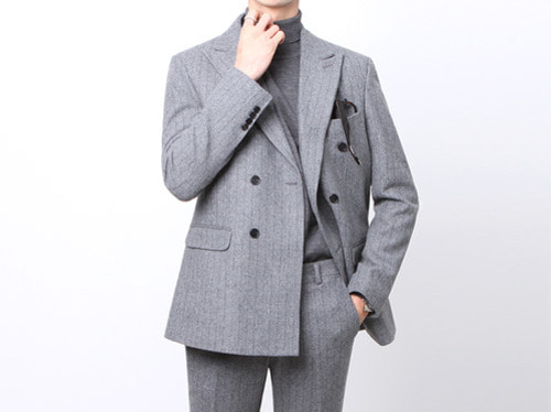 (select) wool stripe suit . gray