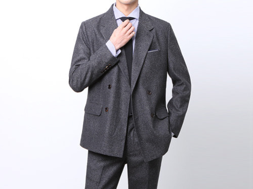 (select) herringbone double suit . charcoal