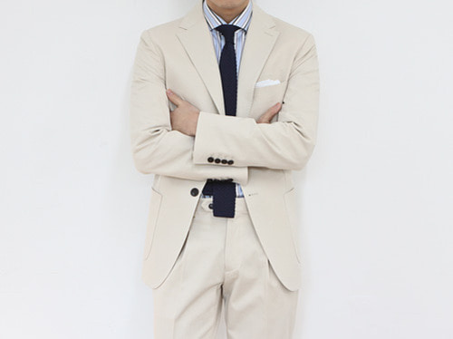 (select) formal cotton suit . ivory