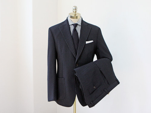 (select) crepe stripe suit . navy