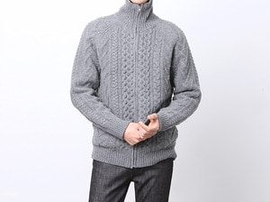 (select) cable knit zip-up