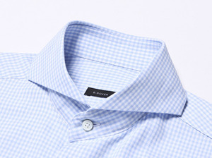 B.ROVER - GINGUM CHECK WIDE SH SKYS/S PREMIUM FABRIC SEASON OFF SALE 교환 , 반품불가