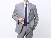 (select) wool glen check suit . gray
