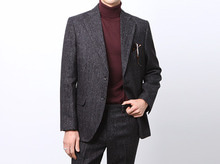 (select) tweed herringbone suit . black