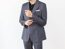 (select) navy stripe linen suit